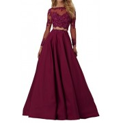 MILANO BRIDE Women's Evening Prom Dress Sexy Two-Pieces Long Sleeves Ball Gown-2-Burgundy - Dresses -