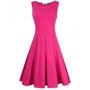 MISSKY Women 3 4 Long Sleeve and Sleeveless Round Neck Knee Length Fit Flare Swing Casual Dress - Платья - $8.88  ~ 7.63€