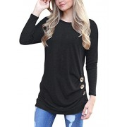 MOLERANI Women's Casual Long Sleeve Round Neck Loose Tunic T Shirt Blouse Tops - Shirts - $16.99