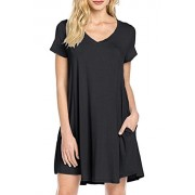 MOLERANI Women's Casual Plain Simple Pocket T-Shirt Loose Dress - Dresses - $39.99
