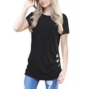 MOLERANI Women's Casual Short Sleeve Round Neck Loose Tunic T Shirt Blouse Tops - Shirts - $39.99