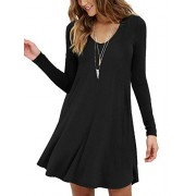 MOLERANI Women's Long Sleeve Casual Swing Simple T-Shirt Loose Dress - Dresses - $16.99