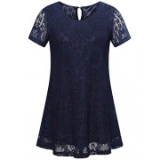 MSBASIC Women's Short Sleeve Floral Lace Blouse Round Neck Casual A-line Tunic Tops - Shirts - $20.99