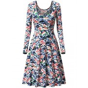 MSBASIC Womens Vintage Floral Print Long Sleeve Round Neck Casual Flared Midi Dress - Dresses - $19.88