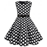MUADRESS Girls Sleeveless O-Neck Audrey 1950s Vintage Swing Princess Party Dress - Dresses - $46.69