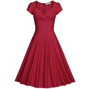 MUXXN Women's 50s Vintage Sweetheart Neck Floral Cocktail Swing Dress - Dresses - $59.99