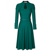MUXXN Women's Elegant Vintage Keyhole Neck Belt Waist Formal Cocktail Swing Dress - Dresses - $59.99