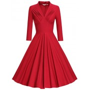 MUXXN Women's V Neck Elegant 3/4 Sleeve Vintage Bridesmaid Party Dress - Dresses - $58.88