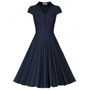 MUXXN Women's Vintage Cap Sleeve High Waist Fitted Flare Rockabilly Dress - Dresses - $59.99