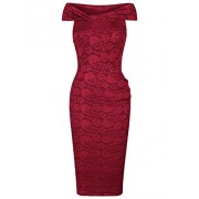 MUXXN Women's Vintage Floral Lace Off Shoulder Cocktail Dress - Dresses - $59.99