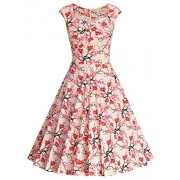 MUXXN Women's Vintage Print Cap Sleeve Formal Cocktail Dress - Dresses - $59.99