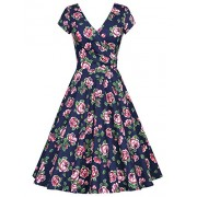 MUXXN Women's Vintage Style Short Sleeve Floral Print A Line Dress - Dresses - $58.99