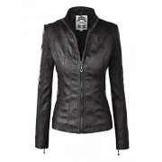 Made By Johnny MBJ WJC877 Womens Panelled Faux Leather Moto Jacket XL Black - Outerwear - $56.84