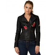 Made By Johnny MBJ Womens Floral Embroidered Faux Leather Motorcycle Biker Jacket - Outerwear - $99.92