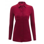 Made By Johnny WT1553 Womens Lightweight Long Sleeve Button Down Shirt Blouse - Shirts - $31.36