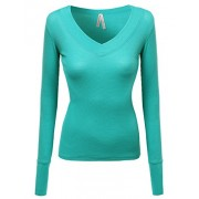 Made by Emma MBE Women's Basic Solid V-Neck Henley Lace Long Sleeves Thermal Tee - Underwear - $7.87