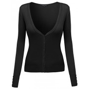 Made by Emma MBE Women's Classic Basic Deep V-Neck Cardigan with - Shirts - $11.00