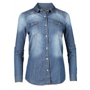 Made by Emma MBE Women's Slim Long Sleeve Chambray Western Denim Button Down Shirt - Shirts - $19.95