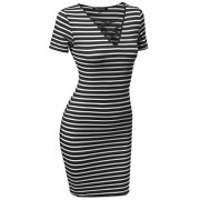 Made by Emma Women's Basic Every Day Lattice-Front Stripe Short Sleeves Dress - Dresses - $7.71