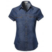 Made by Emma Women's Short Roll Up Sleeves Chest Pocket Denim Chambray - Shirts - $14.97
