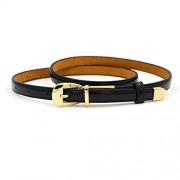 Maikun Women's Thin Belt Adjustable Solid Color Patent Leather Pin Buckle - Belt - $19.00