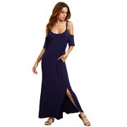 MakeMeChic Women's Cold Shoulder Pocket Short Sleeve Side Split Long Maxi Dress - Dresses - $22.99