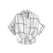 MakeMeChic Women's Collar Button Down Shirt Summer Knot Front Blouse - Top - $12.99