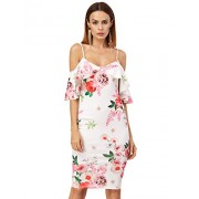 MakeMeChic Women's Floral Print Ruffle Cold Shoulder Sexy Bodycon Dress - Dresses - $30.99