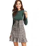 MakeMeChic Women's Lace Up Ruffle Hem Zip A-Line Plaid Suspender Skirt - Skirts - $26.99