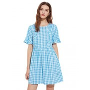 MakeMeChic Women's Loose Ruffle Short Sleeve Gingham Babydoll Dress - Dresses - $18.99