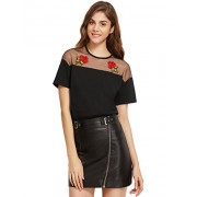 MakeMeChic Women's Mesh Shoulder Short Sleeve Rose Embroidered Tshirt Tops - Top - $20.99