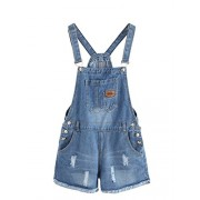 MakeMeChic Women's Ripped Distressed Denim Overall Shorts Romper - Pants - $21.99