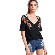 MakeMeChic Women's Rose Embroidered Short Sleeve Summer Cold Shoulder T Shirt - T-shirts - $16.99