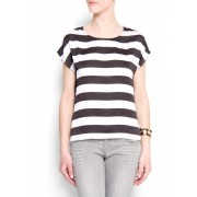Mango Women's Relaxed-fit Stripes Blouse Black - Top - $39.99