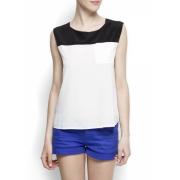 Mango Women's Two-tone Asymmetric Blouse Black - Top - $39.99