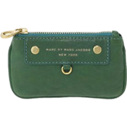 Marc by Marc Jacobs Preppy Leather Mini Skinny Coin Case Pouch w Keychain Parrot Green - Wallets - $74.99