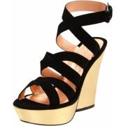 Marc by Marc Jacobs Women's Platform Sandal Black/Gold Suede/Nappa - Sandals - $163.82