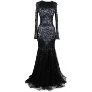 Meier Women's Long Sleeve Rhinestone Sheer Tulle Mermaid Pageant Formal Evening Dress - Платья - $249.00  ~ 213.86€