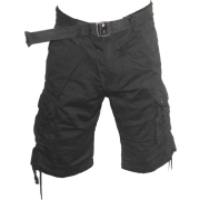 Men Cargo Pocket Shorts Black, Inner Drawstring Waist, Belt Included, Avail Size 32-44 - Shorts - $29.75