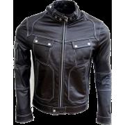 Men Black Genuine Real Leather Jacket Sn - Chaquetas - $179.99  ~ 154.59€