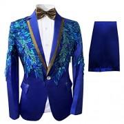 Mens 2 Piece Sequin Slim Fit Dress Suit One Button Floral Dinner Jacket & Pants - Sakoi - $89.99  ~ 77.29€
