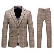 Mens 3-Piece Suit Plaid Modern Fit Single Breasted Smart Formal Wedding Suits - Sakoi - $79.99  ~ 68.70€