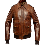 Mens A2 Aviator Distressed Brown Bomber Leather Jacket - Jacket - coats - 223.00€  ~ $259.64