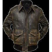 Mens Brown A2 Tiger Bomber Aviator Leather Flight Jacket - Jacket - coats - 223.00€  ~ $259.64