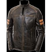 Mens Cafe Racer Distressed Brown Leather Jacket - Jacket - coats - $216.00