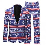Mens Christmas Suits Two Button Slim Fit 2 Piece Set in Funny Prints - Sakoi - $87.99  ~ 75.57€