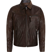 Mens Classic Collar Style Brown Sheepskin Leather Jacket - Jacket - coats - 200.00€  ~ $232.86