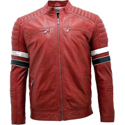 Mens Cowhide Red Leather Jacket - Jacket - coats - 216.00€  ~ $251.49