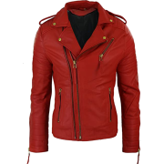 Mens Double Cross Zip Red Leather Biker Jacket - Jacket - coats - 228.00€  ~ $265.46