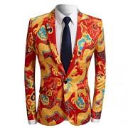 Men's Fashion Casual Print One Button Suit Jacket Blazer - Košulje - kratke - $66.99  ~ 57.54€
